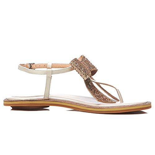 Vacaciones Roma Mujer Champán Sandalias Aire Las Del Arco Libre Rhinestone Mujeres Cuero Verano Zapatos De Gaolixia Dedo Pie Al Ocio B1PUqPw4