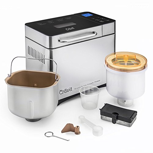 Cravit Bread Maker WITH FREE ICE CREAM MAKER COMBO includes 19 programmable settings AND delicious HOMEMADE Ice Cream Maker!!