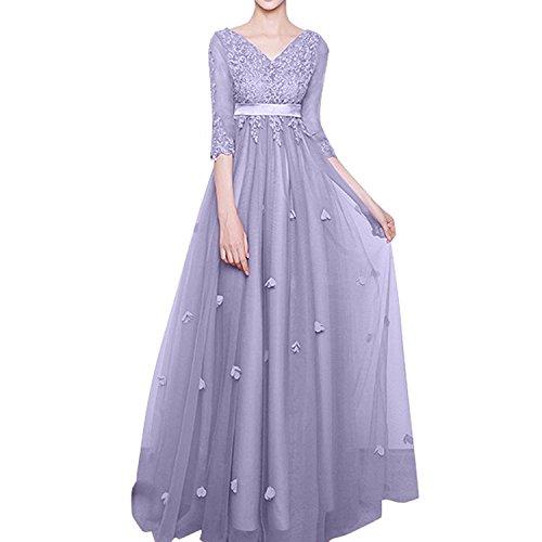 Abschlussballkleider Lang 4 Linie 3 Damen A Langarm Abendkleider Spitze Lilac Ballkleider Promkleider Brautmutterkleider Charmant gqzvxZtw