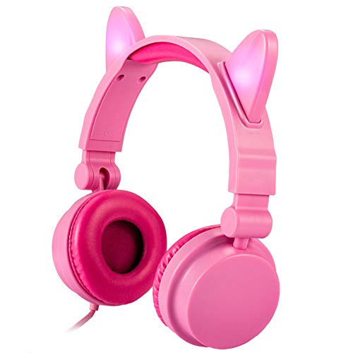 Kids Headphones Cat Ear Foldable Wired On-Ear Kids Headphones with LED Flash Light 3.5mm Jack Flashing Glowing Stereo Headsets for Girls Children Cosplay Fancy Tablet Phone Android PC Pink