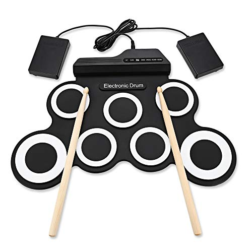 GonPi |Toy Musical Instruments | 1 Piece 2019 Compact Size Portable Digital Electronic Roll Up Drum Set Kit 7 Silicon Drum Pads USB Powered with Drumsticks Foot Pedals