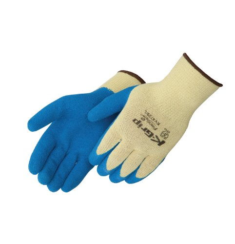 Liberty K-Grip Kevlar Premium Textured Latex Dipped Palm Coated Seamless Knit Glove with 10-gauge Shell, Medium, Blue (Pack of 12)