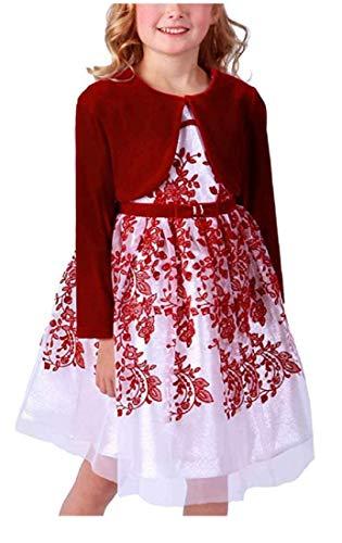 Jona Michelle Girl's Flocked Dress with Velvet Shrug, Red/Silver, Size 7 -