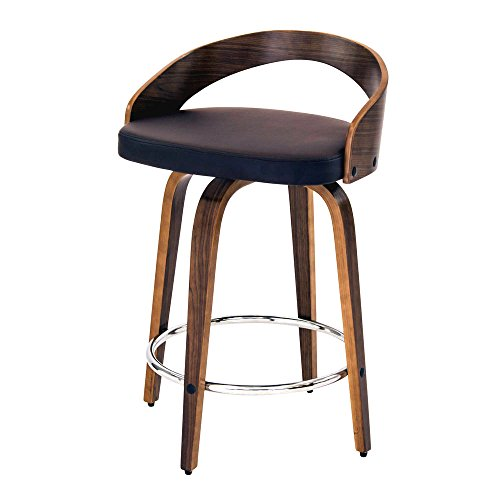 (Bar Stool. Comfortable 4 Leg Modern Counter Stool With Walnut Wood And Brown Pu Leather. Stylish Chair Curved Low Back And Rounded Legs. Cool Modern Contemporary Furniture For Home French Decor.)