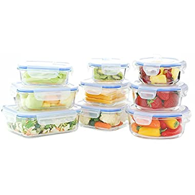 Kinetic 55047 18 Piece GoGreen Glassworks Elements Food Storage Container Set, Clear