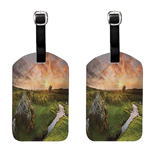 Nature Small luggage tag Sunset at Rural Countryside 2 PCS Soft to the touch Hanging on the suitcase