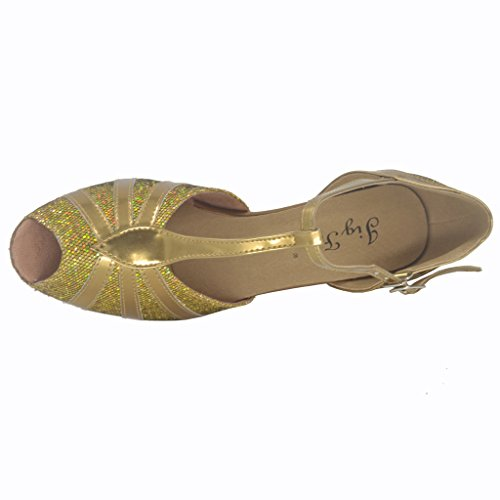 Jig Foo Sandals Open-toe Latin Salsa Tango Ballroom Dance Shoes for Women with 3