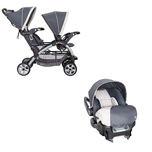 Baby Trend 5 Point Double Stroller & 35 LB Infant Car Seat w/Car Base, Magnolia