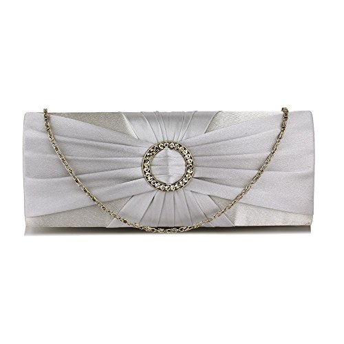 Crystal Satin Gorgeous Sparkly DELIVERY Evening UK Bag Silver FREE EqnafxF