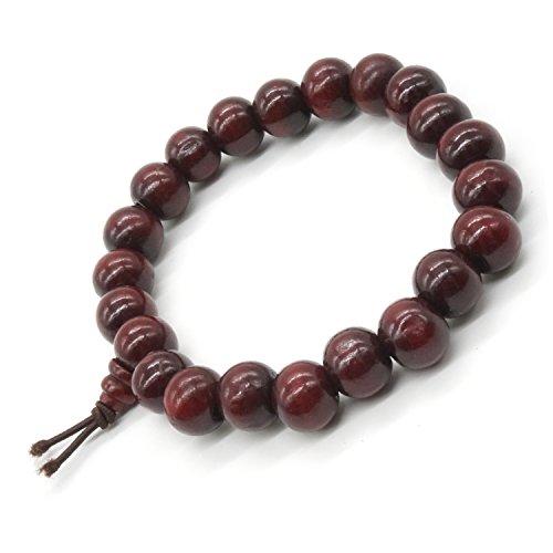 Sandalwood Bead Bracelet Tibetan Buddhist Buddha Meditation Men Elastic Bracelet 8mm Mala Prayer Beads (Prayer Buddhist Beads Tibetan)