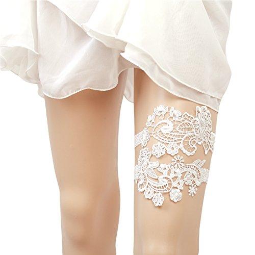 Slocyclub Bridal's Off-white Lace Embroidery Wedding Garter Set (Lace Bridal Garter Set)