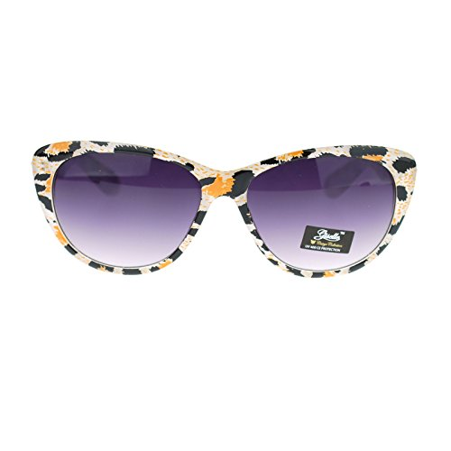 Giselle Color Leopard Animal Print Mod Retro Chic Cat Eye Sunglasses White