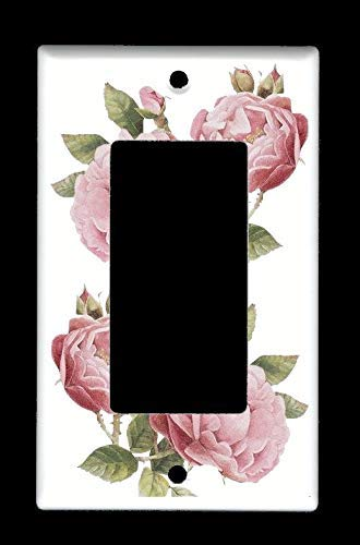 (Rocker Decora GFI Light Switch Plate Cover - Light Pink Roses - Flowers Plants)