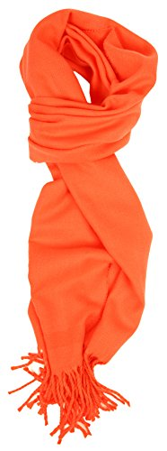 Love Lakeside-Men's Cashmere Feel Winter Solid Color Scarf 00-0 Orange ()