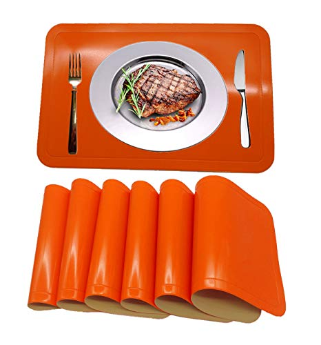 WANGCHAO Placemats Set of 6, Glossy PVC Leather Table Mats Stain Resistant Washable Placemats for Kitchen Dining Table (Rectangular Placemats, Orange)