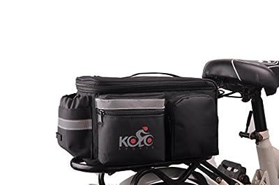 Bike Pannier Bag By Kolo Sports | Durable & Waterproof Nylon With Extra Padded Foam Bottom & 3 Side Reflectors | Shoulder Strap Rack Rear Trunk Tote Bag | Strong Velcro, Zipper Pockets & Bottle Case