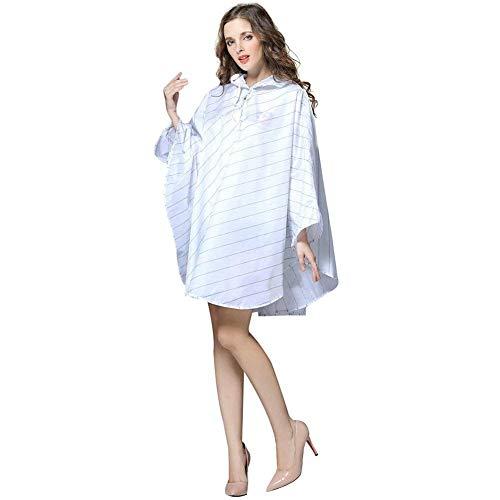 Capuche Vêtements Imperméable Jeune De À Chic Blanc Poncho vent Rayure Léger Femmes Coupe Pluie Rp6x46U