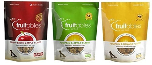 Fruitables Gluten Free Crunchy Dog Treats 3 Flavor Variety Bundle: (1) Fruitables Crunchy Crispy Bacon & Apple Flavor, (1) Fruitables Crunchy Pumpkin & Apple Flavor, and (1) Fruitables Crunchy Pumpkin & Banana Flavor, 7 Oz. Ea. (3 Bags Total) For Sale