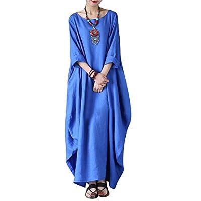 New Yesno JD1 Women Long Maxi Elegant Dress Lined 100% Linen Casual Loose Fit Baggy Skirt Long Sleeve/Pocket hot sale