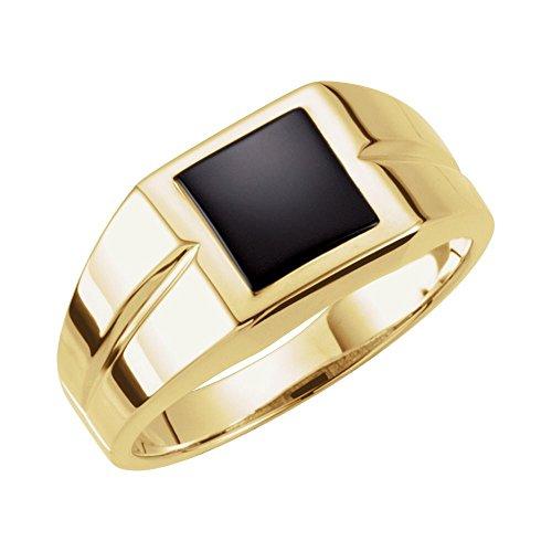 14k Yellow Gold 8mm Square Onyx Men Gents Gemstone Ring