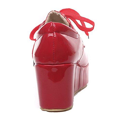 AllhqFashion Mujer Cordones Tacón Medio Pu Sólido Puntera Redonda Puntera Cerrada De salón Rojo