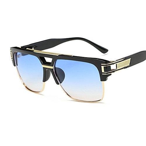 VeBrellen Retro Men Aviator Sunglasses Metal Square Wayfarer Glasses UV400 (Black Frame With Gradient Blue Lens, - Blue Sunglasses Gradient