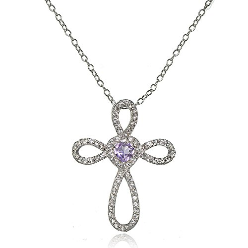 Amethyst Cross Pendant - Lovve Sterling Silver Amethyst & White Topaz Heart Infinity Cross Necklace