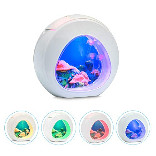 Little bees Electric LED Aquarium Tank Jellyfish Mood Night Lamp with Color Changing for Home Desktop Background Decor Lights Romantic Lovely Magic Lamp Gift for Kids ...
