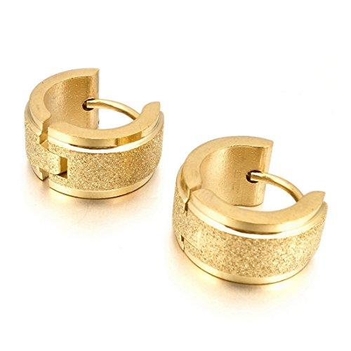 INBLUE Men's Stainless Steel Stud Hoop huggie Earrings Gold Tone Matte