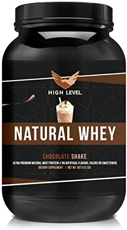 High Level Natural Whey Protein Powder Chocolate Shake with Stevia 29g Protein 2 lb, Ultra Filtered Non-GMO Digestive Enzymes for Absorption No Artificial Color or Flavors Made in USA