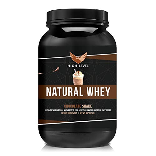 High Level Natural Whey Protein Powder | Chocolate Shake with Stevia | 29g Protein | 2 lb, Ultra Filtered Non-GMO | Digestive Enzymes for Absorption | No Artificial Color or Flavors | Made in USA