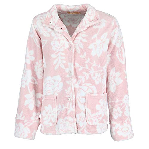 - La Cera Women's Floral Plush Bed Jacket, XL, Pink White