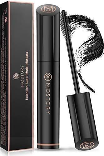 MOSTORY Black Lash Mascara - 4D Silk Fiber Volume Waterproof Natural Extension Mascara Thickening Lengthening Voluminous Sweatproof Long Lasting Hypoallergenic Eyelash Rubber Brush (0.28 oz)