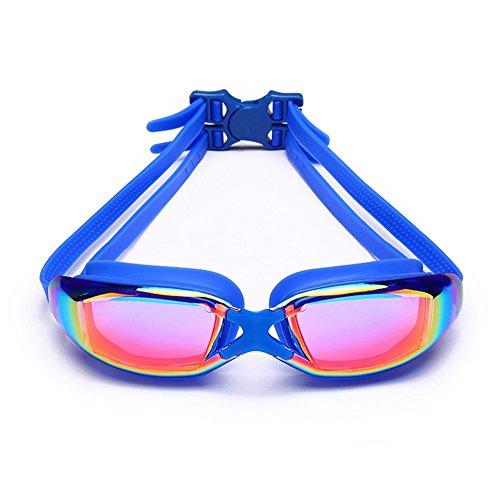 QY Adulto Natación De Impermeable De Gafas Gafas Casual Chapado Azul Natación Antivaho HD De Lente Moda qEzwTqr5n