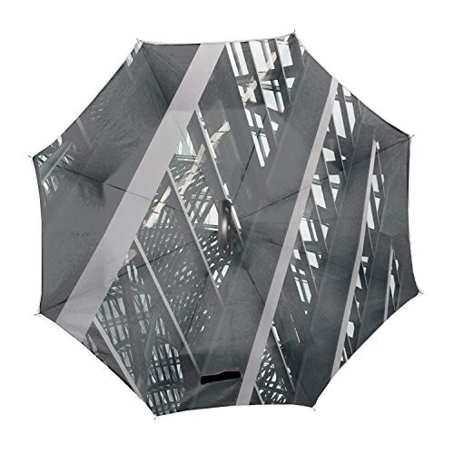 Abstract Glass Building Architecture Polyester Home Car Upside-down Reverse Rain Umbrellas