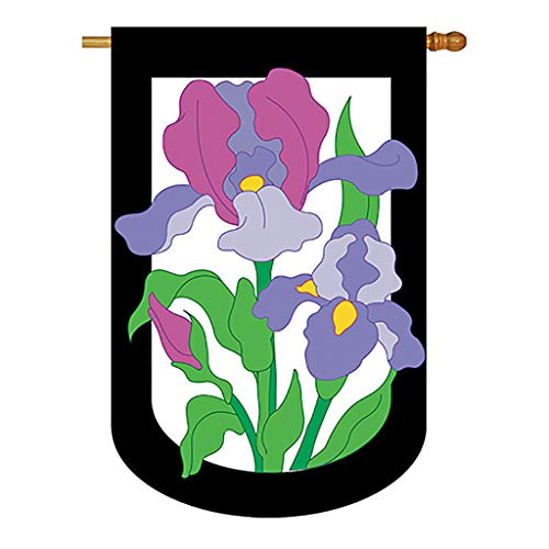 (Two Group - Iris Spring - Everyday Floral Applique Decorative Vertical House Flag 28