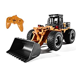 Remote Control Bulldozer Toy 1:16 Hobby RC Trucks Caterpillar Aluminum Alloy Rc Front Loader 4WD for 6-15 Years Old Boys Kids Gift