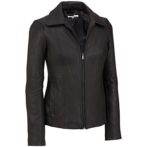 Wilsons Leather Womens Zip Shirt-Collar Lamb Scuba Jacket M Black