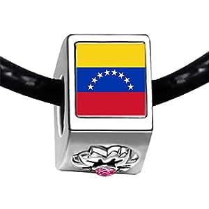Chicforest Silver Plated Venezuela flag Photo Light Rose Crystal October Birthstone Flower Charm Beads Fits Pandora Charm Bracelet