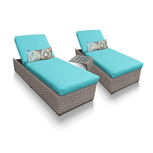 Classic Wicker Side Chair - TK Classics Oasis Outdoor Wicker Patio Chaise Furniture with Side Table, Set of 2, Aruba