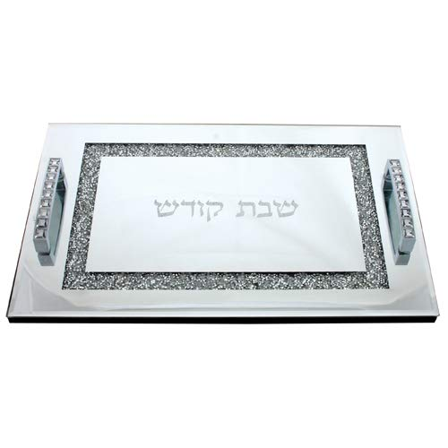 Challah Bread Board/Serving Tray Mirrored Glass Set with Crushed Glass Sparkled Border and Handles