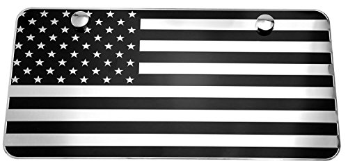 USA American Black & Chrome Flag Embossed Metal License Plate 2 Hole (12