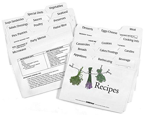 Recipe Box Dividers - Labeleze 4-by-6-Inch Recipe Card Divider Set