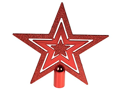 - Clever Creations Flat Star Tree Topper True Red Glitter 5 Point Star | Festive Christmas Décor | Perfect Complement to Any Holiday Decoration | Unlit Shatter Resistant Sparkled Plastic | 8