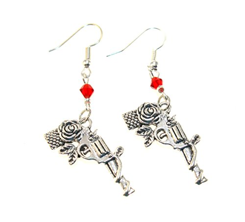 FTH Guns & Roses Pistol Earrings Dangle from Red Crystal Bead.Perfect for Cowgirls,or NRA Supporters!