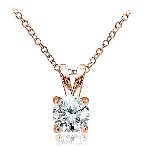 Hoops & Loops Rose Gold Flash Over Sterling Silver 1ct Cubic Zirconia 6.5mm Round Solitaire Necklace ()