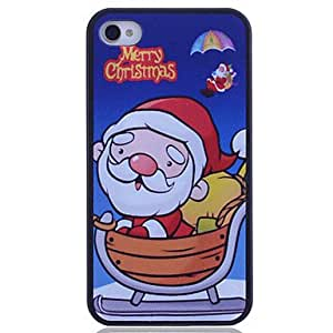 LCJ Father Christmas Cartoon Printing Back Case for iPhone 4/4S