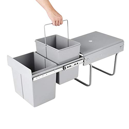 Pull Out Bin Kitchen Waste Basket Rack Double Pull-Out Garbage Container Drawer Rubbish Storage Cabinet 2x15L