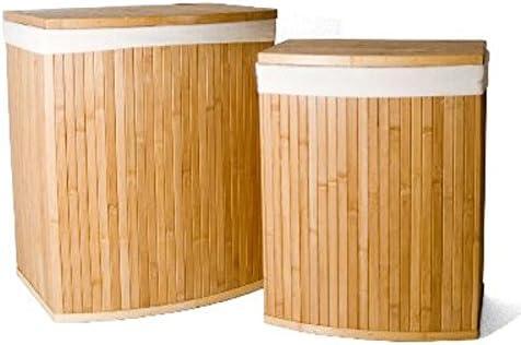 2 BAULI PORTABIANCHERIA Indumenti Vestiti SPORCHI in Bambu E Tessuto Capri