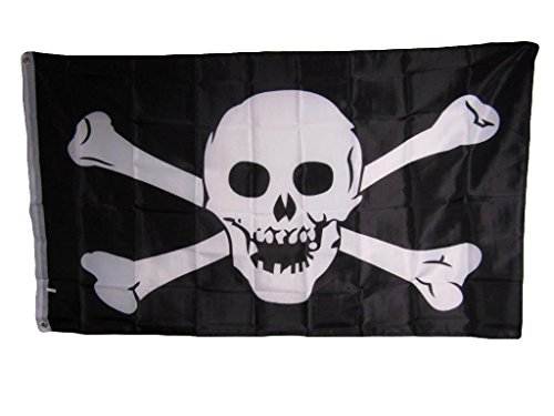 (Jolly Roger Pirate Skull and Crossbones No Patch 3x5 Flag Banner indoor/outdoor)
